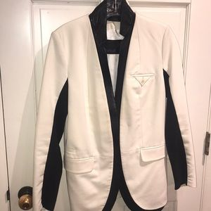 YIGAL AZROUEL WINTER WHITE/LEATHER BLAZER 6